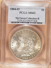 1884-O Morgan Dollar PCGS graded MS63, Lightly Toned, McClaren Collection II