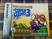 Super Mario Advance 4 Super Mario Bros 3 Authentic Game Boy Advance Manual (RL)