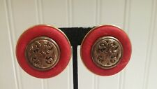 Vintage Goldtone Metal Red Cloth Filigree Disk Clip-on Earrings