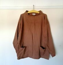 Vintage Yarmo Brown Fisherman Smock Cotton Canvas Pullover Jumper L XL RARE