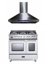 "Verona Prestige VPFSGE365DW 36"" DualFuel Range Double Oven Convection Hood White"