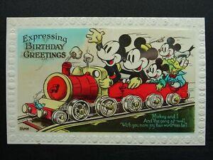 Walt Disney MICKEY & MINI MOUSE on Steam Train BIRTHDAY WISHES c1940's Postcard