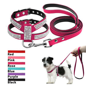Bling Rhinestone Dog Harness and Leash set Cute for Small Dogs Puppy Chihuahua