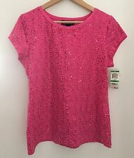 INC International Concepts Hot Pink Sequined T-shirt Top Knit Shirt Sz L NWT