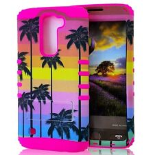 For LG K7 / Tribute 5 - Hybrid HARD&SOFT Impact Armor Case Pink Palm Tree Sunset