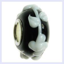 Sterling Silver Murano Glass White Flower Black Bead for European Charm Bracelet