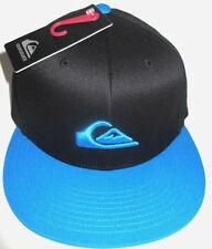 MENS QUIKSILVER BLACK/BLUE FITTED HAT CAP SIZE S/M