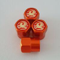 VAUXHALL metal Orange Valve Dust caps all models Lot Colour ASTRA CORSA INSIGNIA