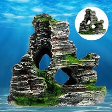 Aquarium Ornament Rockery Hiding Mountain Cave Home Fish Tank Decor Resin