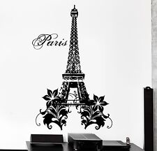 Wall Decal Paris France Eiffel Tower Flower Love Vinyl Decal (z3136)