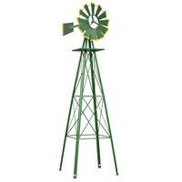 8Ft Tall  Windmill Ornamental Wind Wheel Green And Yellow Garden Weather Vane