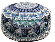 Indian Mandala Ottoman Pouf Cover Hippie Round Footstool Case Boho Cotton Pouffe