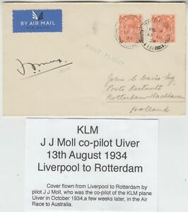 KLM 1934 official FFC *LIVERPOOL-ROTTERDAM* signed by co-pilot J J MOLL