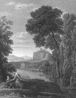 CASTLE BY RIVER HAGAR ANGEL ~ 1840 CLAUDE LORRAIN Landscape Art Print Engraving
