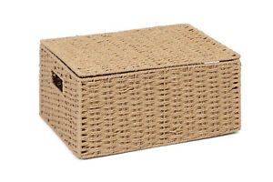 Large Natural  Paper Rope Storage Baskets Boxes Hampers with Lids WB-9694L