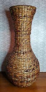 "Rattan Wicker Vase 23"" No Ceramic Plastic Liner"