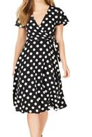 Jessica Howard Women's Dress Black Size 14 A-Line Polka Dot Surplice $89 #110