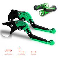 Clutch Brake Levers and Grips Fit For Kawasaki Ninja ZX6R 2007 2008 2009 10-2015