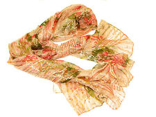 "Women's Very Sheer 100% Silk Scarf / Light Brown / Starburst / 68"" X 40"""