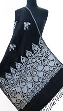 Black Wool Shawl Kashmiri Embroidery With Shades of Blue Periwinkle Pashmina