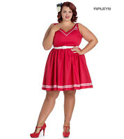 Hell Bunny Nautical Sailor Pin Up Mid Length 50s Dress ARIEL White & Red All Siz