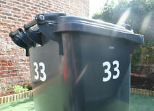 3 x Wheelie Bin/Recycle Box Number Stickers - Many colours