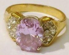 bague bijou rétro couleur or poli zircon diamant et améthyste T.56 p
