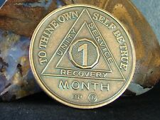 Alcoholics Anonymous AA 1 Month Bronze Medallion Token Coin Chip Sobriety Sober