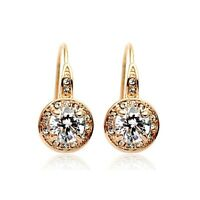 18K Rose Gold GF Made With Swarovski Element Round Sparkle Halo Dangle Earrings