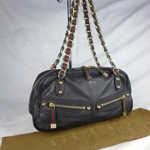Authentic Rare Vintage Gucci Capri Black Leather Small Bowling Shoulder Bag VGC