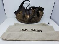 Henry Beguelin vintage deluxe Zivago handmade m Croc Gold bronze leather handbag