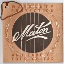 MATON 325 Series Warranty & Guitar Care Manual, Good Condition