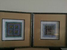 "UNIQUE PURPLE WES & JUDY LINDBERG MULTI-FABRIC FRAMED 16"" SQUARED ART...SET OF 2"