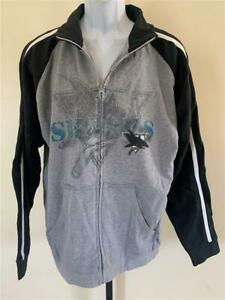 New San Jose Sharks Mens Size M Medium Gray Blueline Full Zip Jacket
