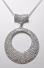 70mm sparkly encrusted round pendant + bail - 18'' chain
