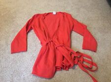 JCrew J Crew Coral Red Orange Vneck Wrap Cashmere Sweater Cardigan Tie XS