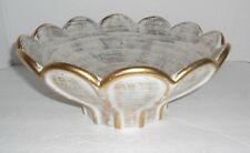 Vintage HAEGER 22k Gold Tweed Glaze Scalloped Bowl W/Foil Tag Mid Century MOD