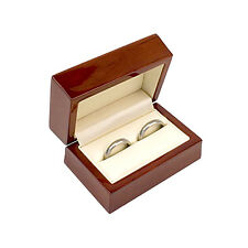 QUALITY Wooden Wedding Ring Box Double Band Mahogany Colour & Free Ring Sizer