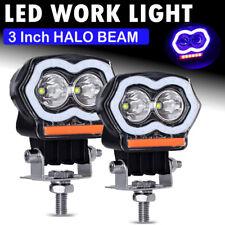 2x 3 Led Halo Light Bar Spot Work Pods Fog Driving Off Road 4wd Atv Suv Truck