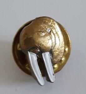 Manatee Walrus Tie Pin Tack Jandy Reg Brass White Enamel Lapel Pin Vintage