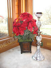 """Frontgate artificial Potted Holiday floral Christmas Poinsettia Urn 25"""" red NIB"""