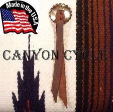 USA MADE CHROME STEEL CONCHO w BROWN LEATHER ROSETTE & STRAP HARLEY SADDLEBAG 1E
