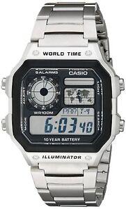 Casio Men's Quartz Multifunction Silver-Tone Bracelet 42mm Watch AE1200WHD-1A