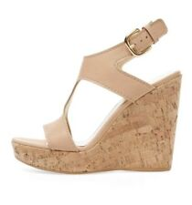 STUART WEITZMAN Purity Leather T-Strap Cork Wedge Sandals $465 Retail Size 9.5
