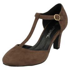 Ladies Anne Michelle T-bar Smart Shoes F9951 Taupe Microfibre 4 UK Standard