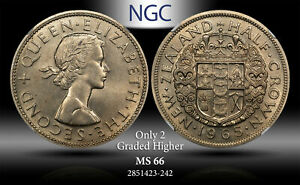 1965 NEW ZEALAND 1/2 CROWN NGC MS 66 ONLY 2 GRADED HIGHER