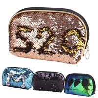 Fashion Sequin Pencil Case Cosmetic Makeup Coin Pouch Storage Zipper Purse Bag