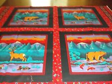 New listing vintage sewing quilting fabric pillows panel,bears and deer