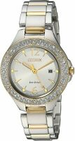 Citizen Eco-Drive Womens Silhouette Crystal Accented Two-Tone Watch FE1164-53A