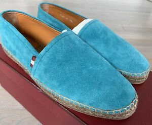 $500 Bally Blue Fillon Suede Espadrilles Size US 10 Made in Spain